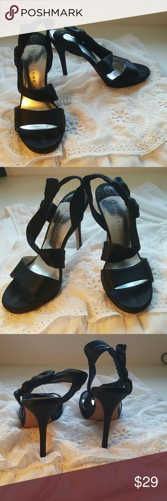 Ivanka Trump Ribbon Heels, sz 9 Purchased from Nordstroms May 2011. Worn twice and in storage since. Great used condition. Extremely easy to walk in for such a high heel. Ribbon straps keep a good hold on your foot. Ivanka Trump Shoes Heels