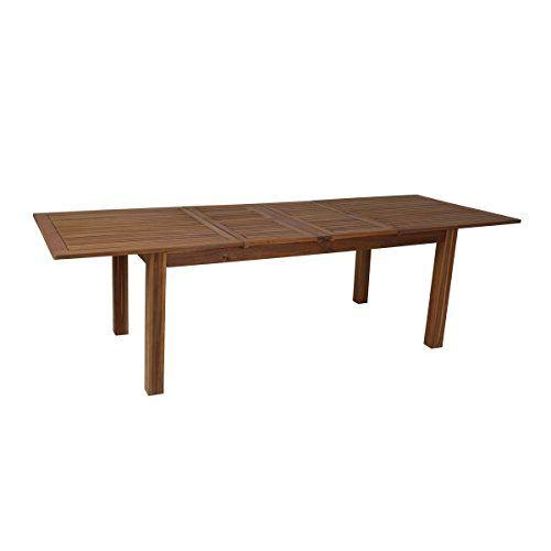 greemotion Esstisch ausziehbar Borkum - Gartentisch aus Akazie - moderner esstisch holz stahl