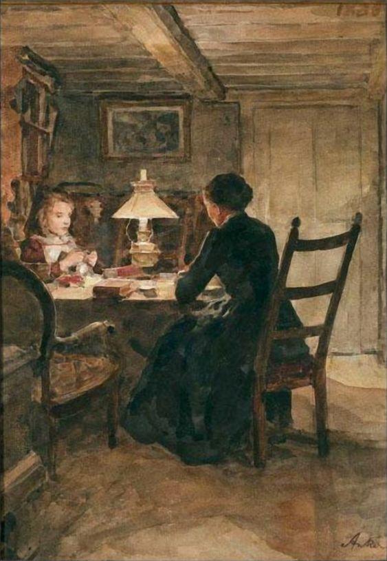 Albert Anker (1831 - 1910) Interieur Bei Lampenschein (32,5 x 23 cm)