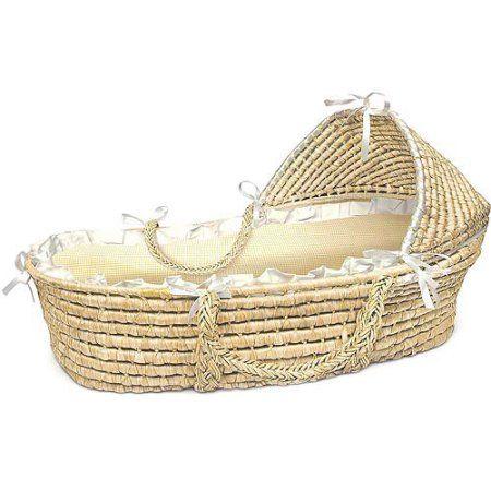 Badger Basket Natural Hooded Moses Basket, Ecru/Beige Gingham Bedding