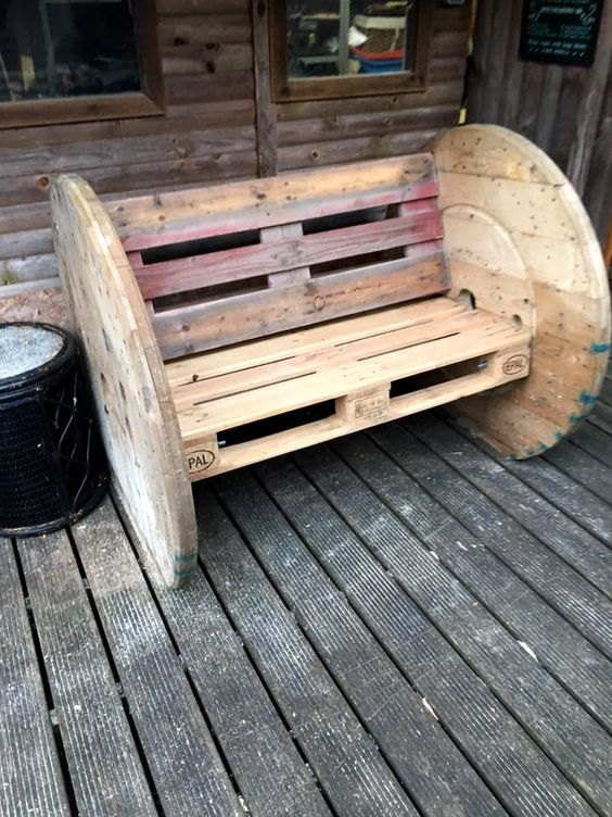 pallet board furniture. Woods Lying Around And Recycle Them For Building Better Outdoor Sitting Furniture Like This DIY Pallet Spool Wheel Bench, Only Two Boards 2 Board