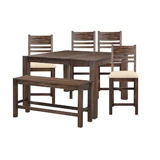 Frankfurt Furniture Rustic 6 Piece Counter Dining Set In Brown