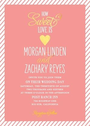 Sweetheart Shine - Signature White Wedding Invitations - East Six Design - Black : Front