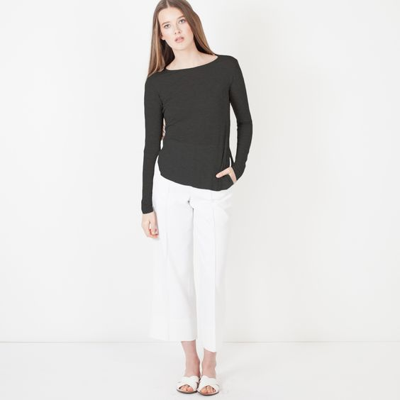 Jacqueline Long Sleeve Tissue Tee (Black)