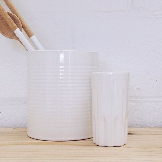 Our medium utensil holder and tall coffee mugs are back in stock. Listed under the Kitchen & Dining collection but they are useful for all kinds of things as you can imagine.