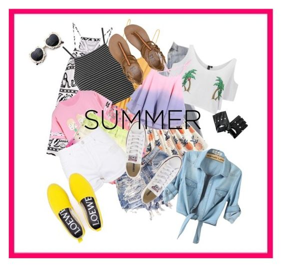 """""""SUMMER"""" by sashasawesome ❤ liked on Polyvore featuring H&M, ERIN Erin Fetherston, Topshop, South Beach, Converse, Billabong and Loewe"""