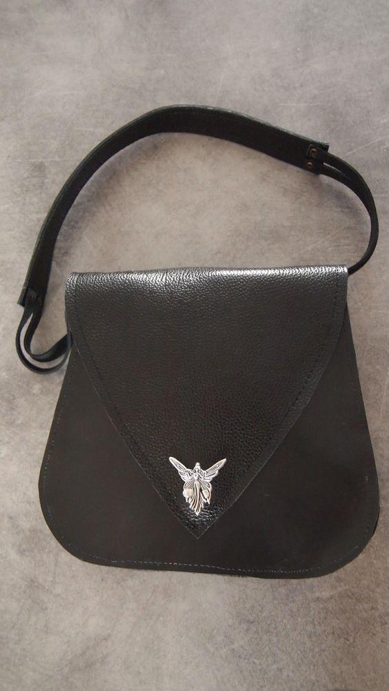 sac d'épaule très sobre en cuir noir. : Sacs à main par cuiraflo