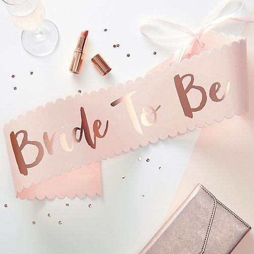 Ginger Ray Metallic Rose Gold Bride To Be Sash 4in X 30in Rose Gold Bride Bridal Shower Sash Bridal Shower Party Supplies