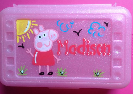 Personalized  Peppa and George Pig pencil case, art, crayon box kids party favor…