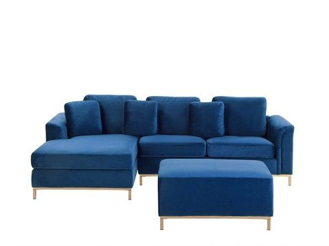 Right Hand Velvet Corner Sofa With Ottoman Navy Blue Oslo Corner Sofa With Ottoman Velvet Corner Sofa Corner Sofa