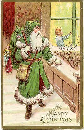 """"""" A Happy Christmas """" Vintage Green Suited Santa Post Card. RARE Green Robe, embossed surface, DB-UNU, Excellent condition. Karodens Vintage Post Cards at www.bonanza.com/booths/karoden"""