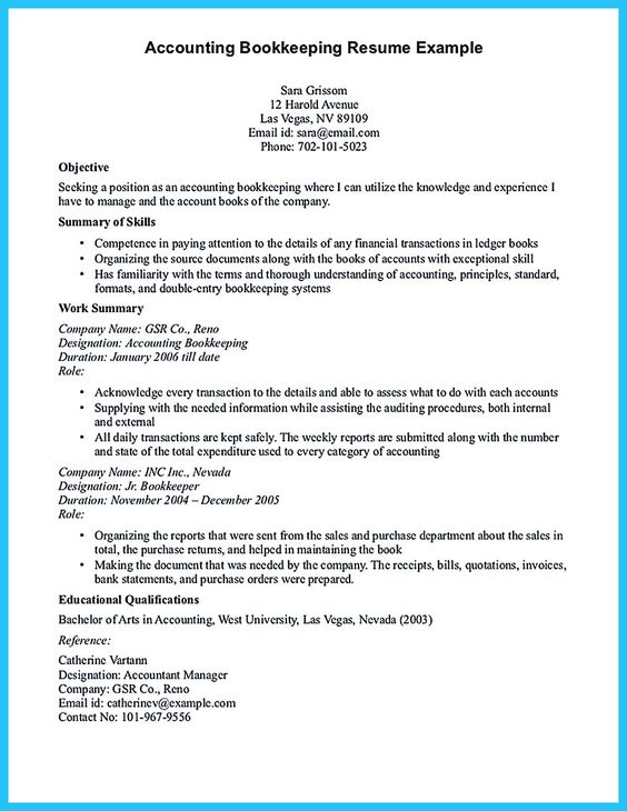Bookkeeper Resume Cover Letter - http\/\/wwwresumecareerinfo - bookkeeper resume