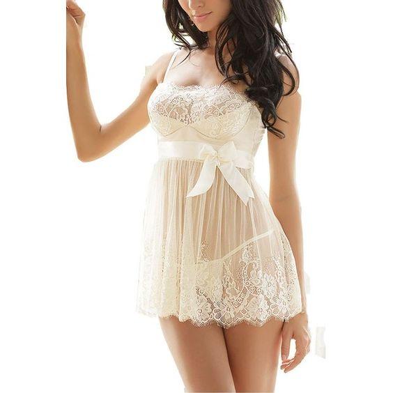 Women's Sexy Lingerie White Lace Nightwear Perspective Sleepwear... ($13) ❤…