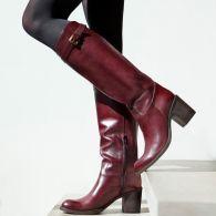 Chaussures femme bottes cavalières cuir bordeaux / leather burgundi boots