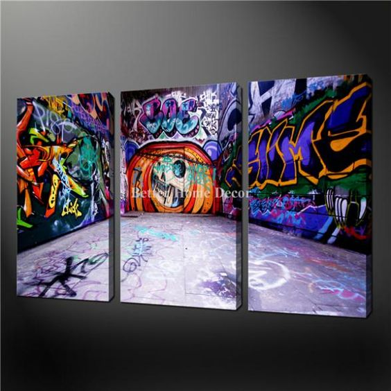 3 Piece Wall Art Painting Pictures Print On Canvas Fresh Look Color Graffiti Wall Street Art The Picture For Home Decoration Oil