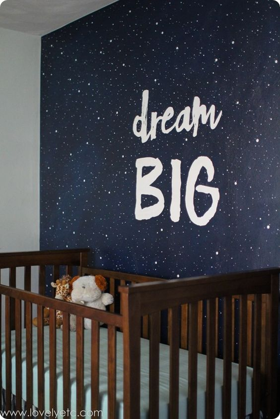 Make a big statement in the nursery with a simple painted wall - a starry night mural and a favorite phrase make an awesome focal wall.: