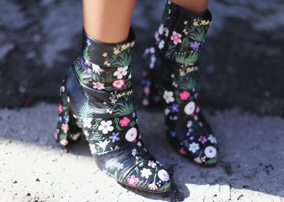 VALENTINO floral boots: