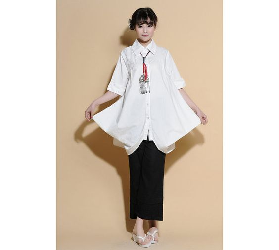 Pleated Linen Long Blouse with 1/2 Sleeves/ 25 Colors by Ramies, $68.00