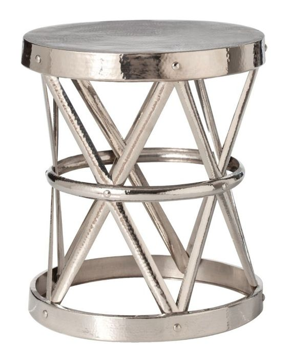 Costello Polished Nickel Iron Arteriors Home Side Table - #EUM2228 - Euro Style Lighting
