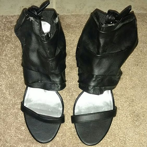 Black heels Fioni brand, size 8 fits like 7.5, ties in back around ankle Worn condition, some cracking, price is reflected Shoes Heels
