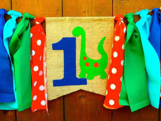 DINOSAUR Birthday Banner HighChair High Chair by SeacliffeCottage