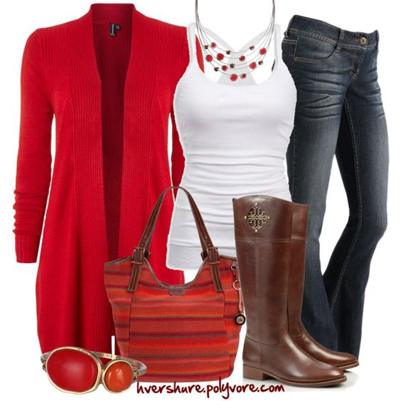 A fashion look from September 2013 featuring Izabel London cardigans, Tory Burch boots and The Sak tote bags. Browse and shop related looks.