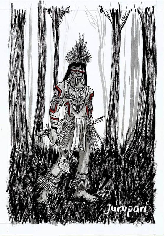 Jurupari era o filho do deus Sol, que o enviou para reformar os costumes da Terra, era o legislador das leis indígenas, filho de uma virgem Tenuiana, a Ceuci.  Artista: Vinicius Galhardo