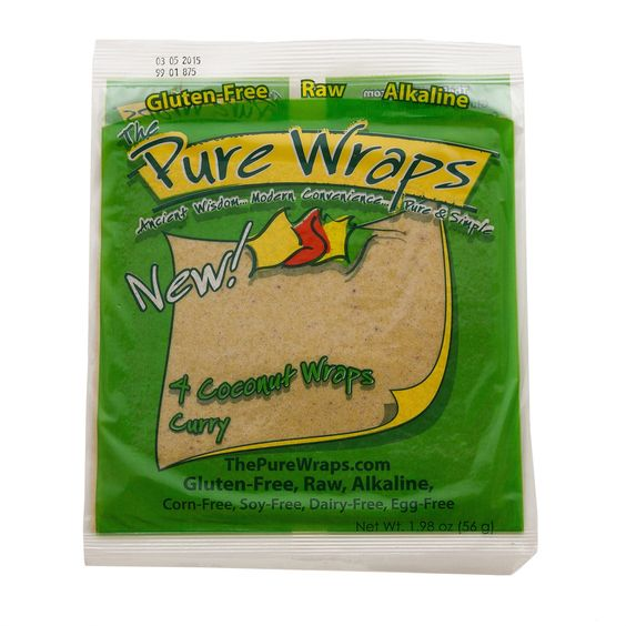 The Pure Wraps Coconut Wraps is a delightful paleo alternative to bread and/or tortillas. It contains no dairy, gluten, corn or soy and is raw, vegan, and alkaline. Wraps are convenient for work, trav