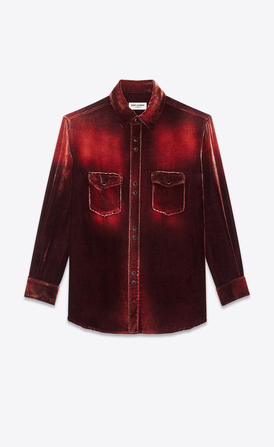 Saint Laurent オーバーサイズシャツ(ブリーチドデヴォレベルベット) weiboでキムタク着