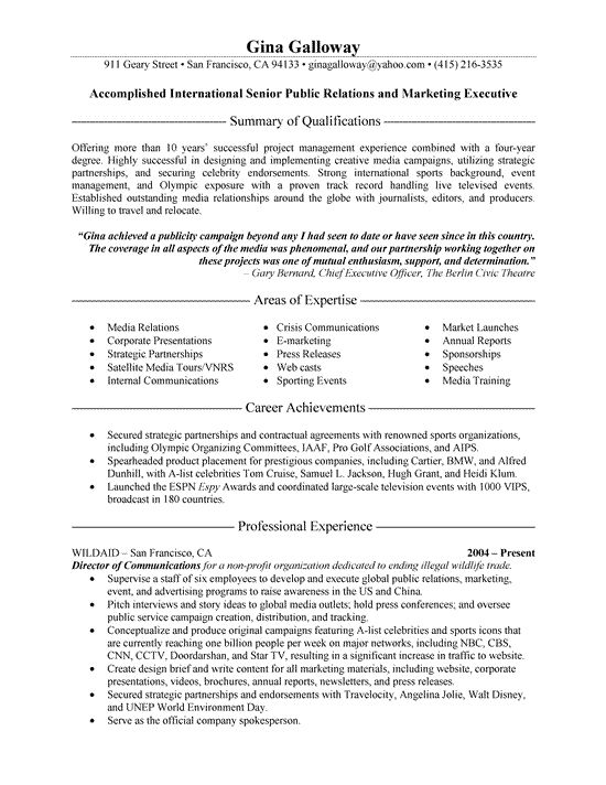 Public Relations and Marketing Resume Download PDF version of - public relations sample resume