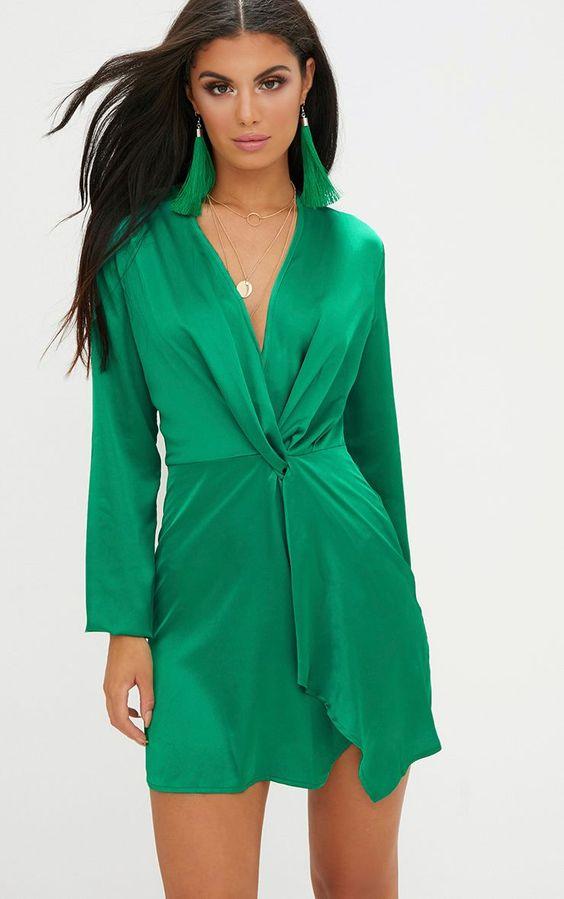 Green Satin Long Sleeve Wrap Dress Get the luxe look in this satin wrap dress, in a jewel green s...