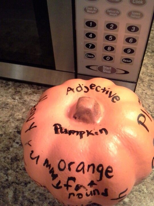 Adjective pumpkin Kimberly made today for our homeschool lesson