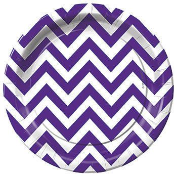 Set your party tables with our Purple Chevron Dinner Plates. These plates have a beautiful zig zag pattern which can be used for any event.