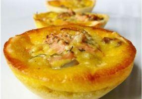 Mini-quiche - champignons - saumon fumé