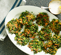 Shredded Vegetable Cakes with Lemon Sauce from Cooking Club.