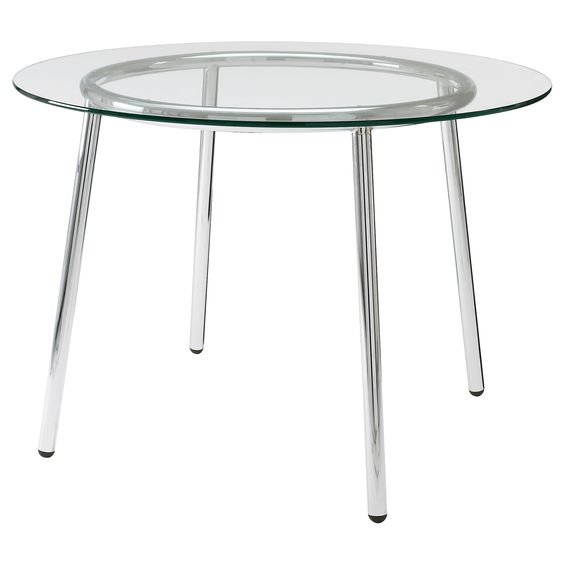 Round Glass Dining Table Ikea: SALMI Table, Glass, Chrome Plated