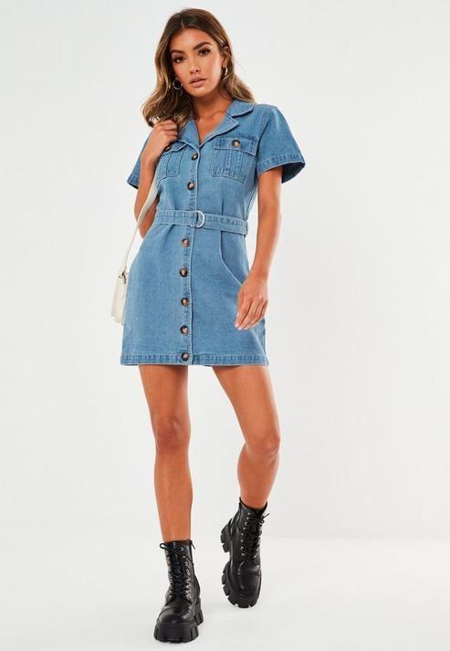 Blue Denim Short Sleeve Denim Dress in 2020 | Short sleeve