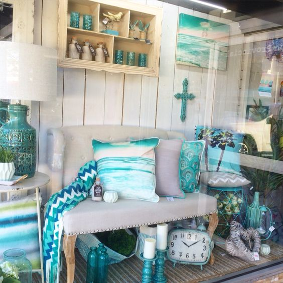 aqua mint blue turquoise window display at our home decor shop in lilydale