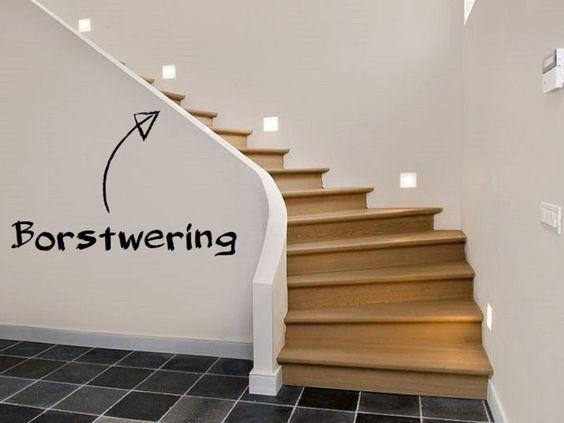 Een trap met bordes, balusters, tredeneus… Geen idee waar deze termen op slaan? Hier zijn 10 essentiële traptermen! Foto: www.trappensmet.be (draaitrap • hout • muurspots)