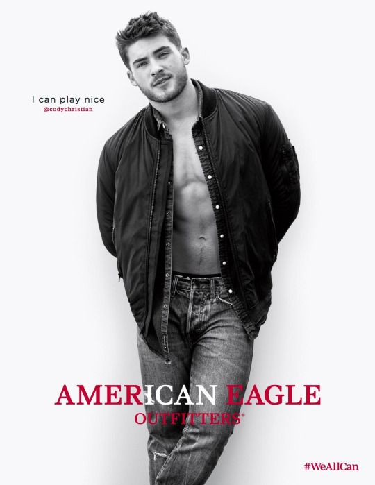 Cody Christian for American Eagle's fall 2016 campaign.