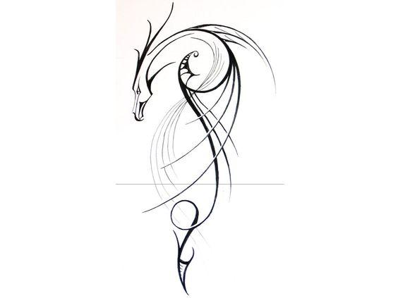 Linear Dragon Tattoo Design Art Picture HD Desktop Free Mobile #7882983748 Wallpaper