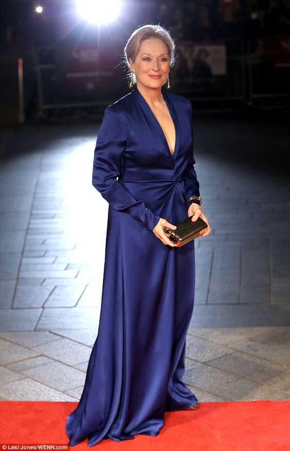 Into The Spotlight: Meryl Streep stood out in adivine  cobalt blue gown at theSuffragette premiere in London