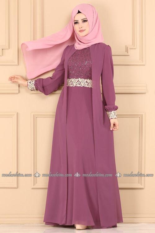 Modaselvim Abiye Gold Detay Tesettur Abiye Alm52700 Gul Kurusu Elbise The Dress Aksamustu Giysileri