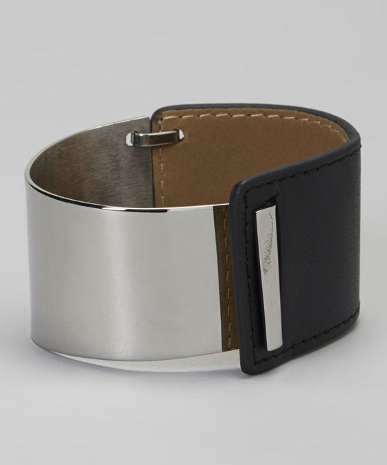 Silver & Black Leather Bracelet