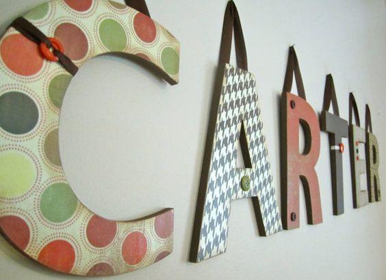 Six Nursery Wall LettersNursery Decor Home by displayyourheart, $60.00