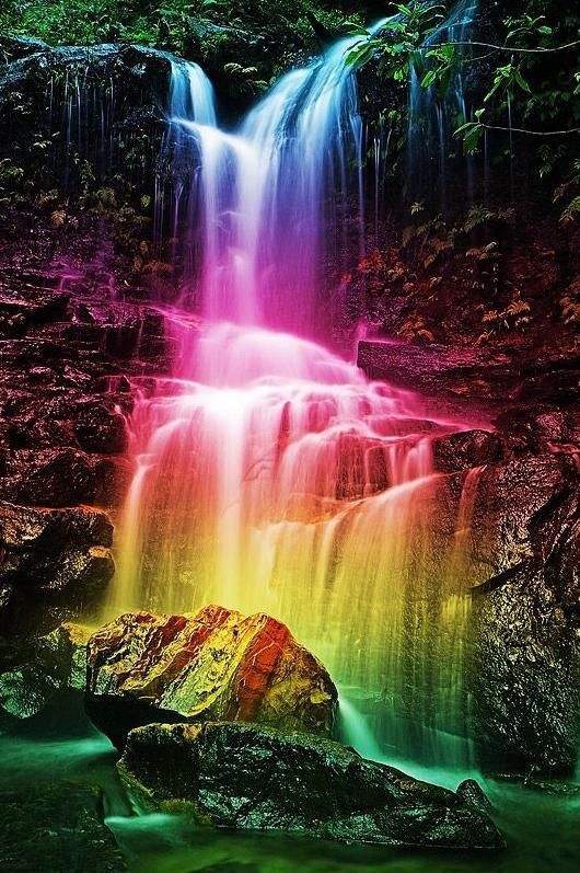 Colorful Waterfall Waterfall Landscape Rainbow Waterfall Rainbow Pictures