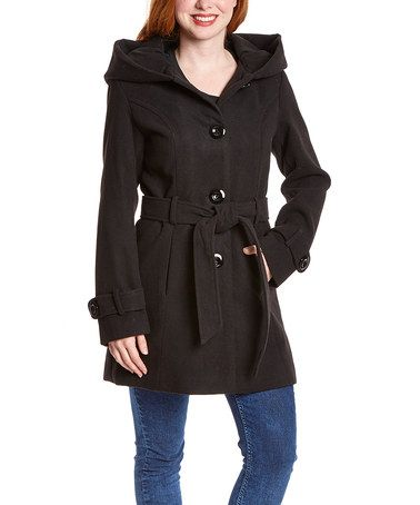 INTL d.e.t.a.i.l.s. Black Hooded Tie-Waist Coat | Coats, Hooded ...
