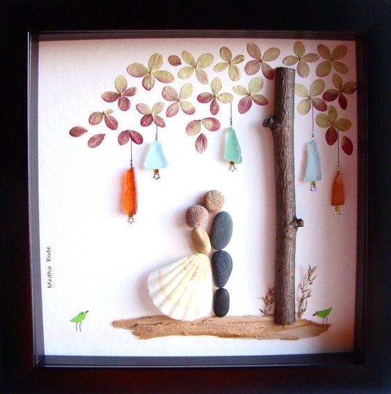Wedding Gift Pebble Art Unique Engagement Gift: Wedding Gift Pebble Art-Unique Engagement Gift