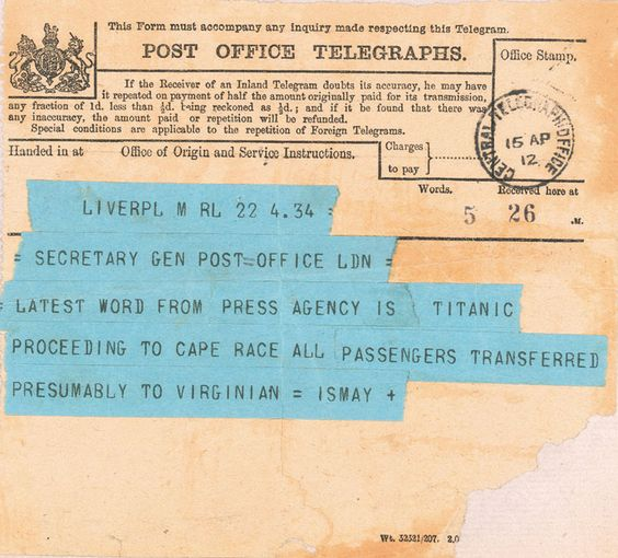 The second telegram about the sinking of the Titanic.