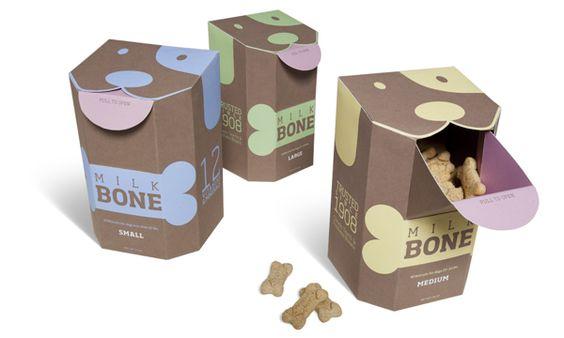 Linda e criativa embalagem de Petiscos para os nossos amiguinhos de quatro patas!   Designed by Rachel Spence